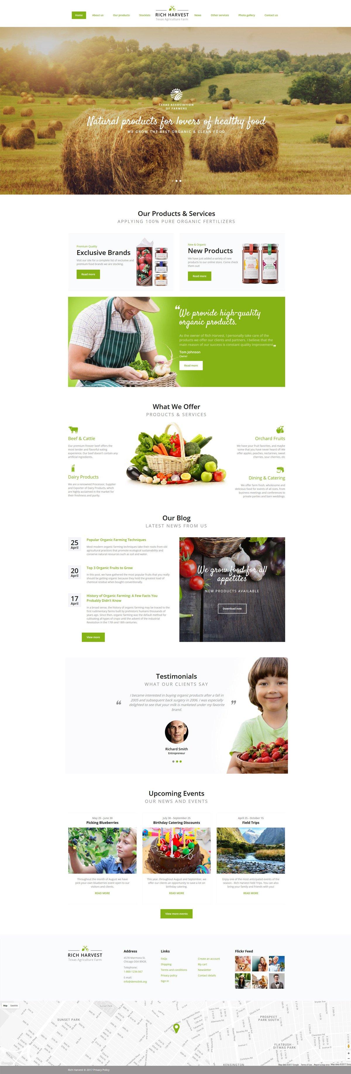 Rich Harvest - Agriculture Farm Responsive Multipage Website Template - screenshot