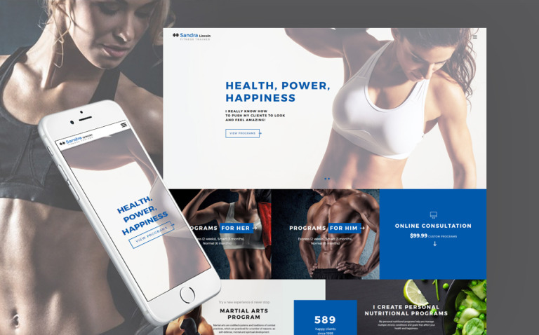 Sandra Lincoln - Personal Fitness Trainer Responsive Website Template New Screenshots BIG