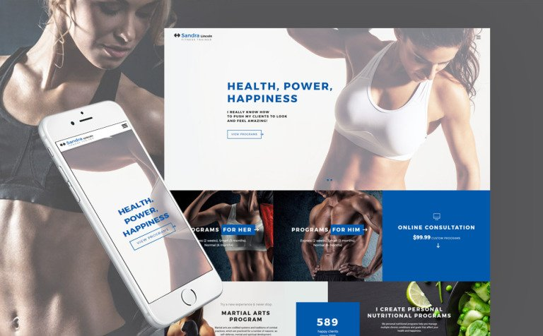 Sandra Lincoln - Personal Fitness Trainer Responsive Website Template