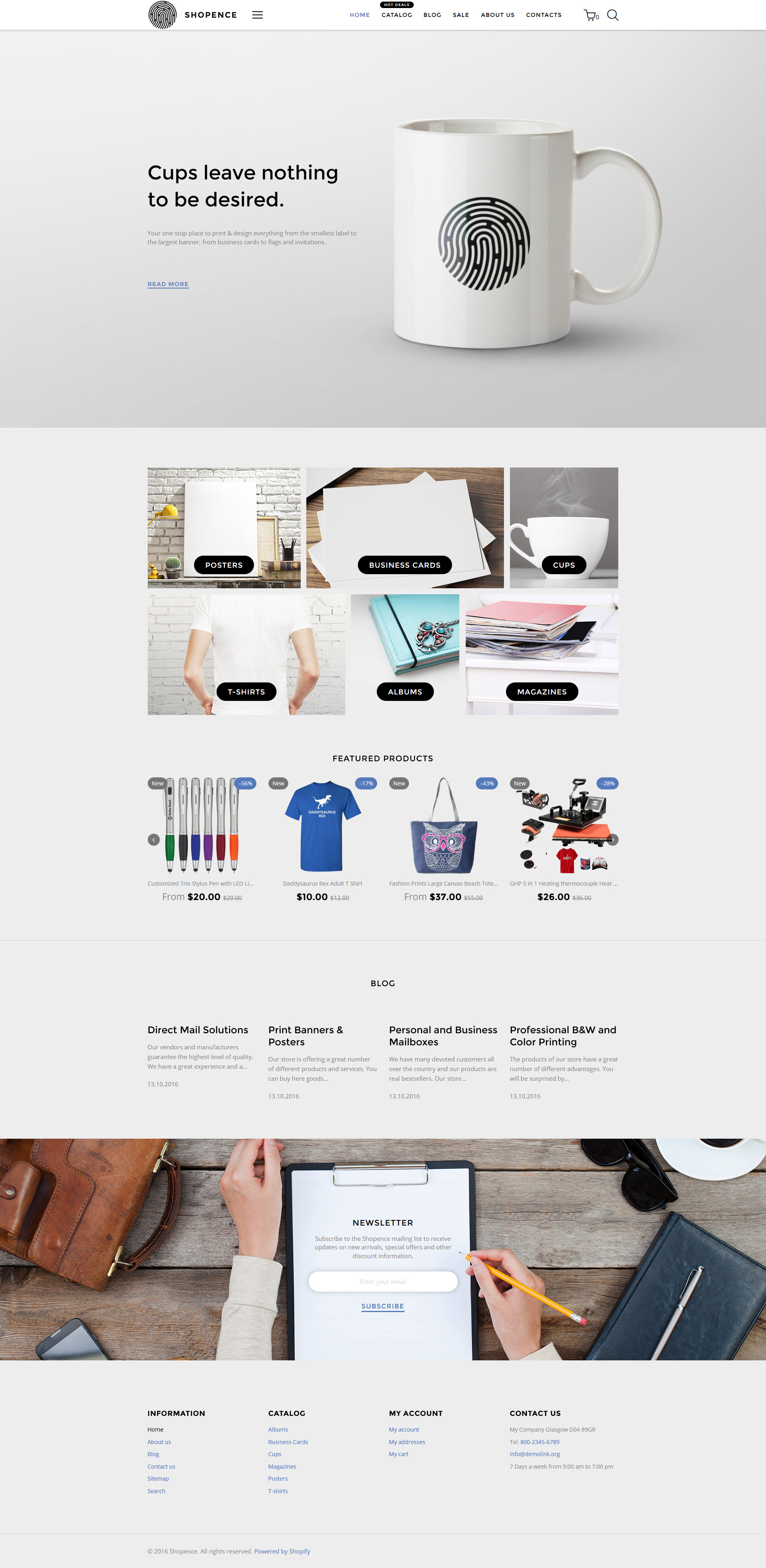 Shopence - Printing Shop & Printing Company Shopify Theme - screenshot