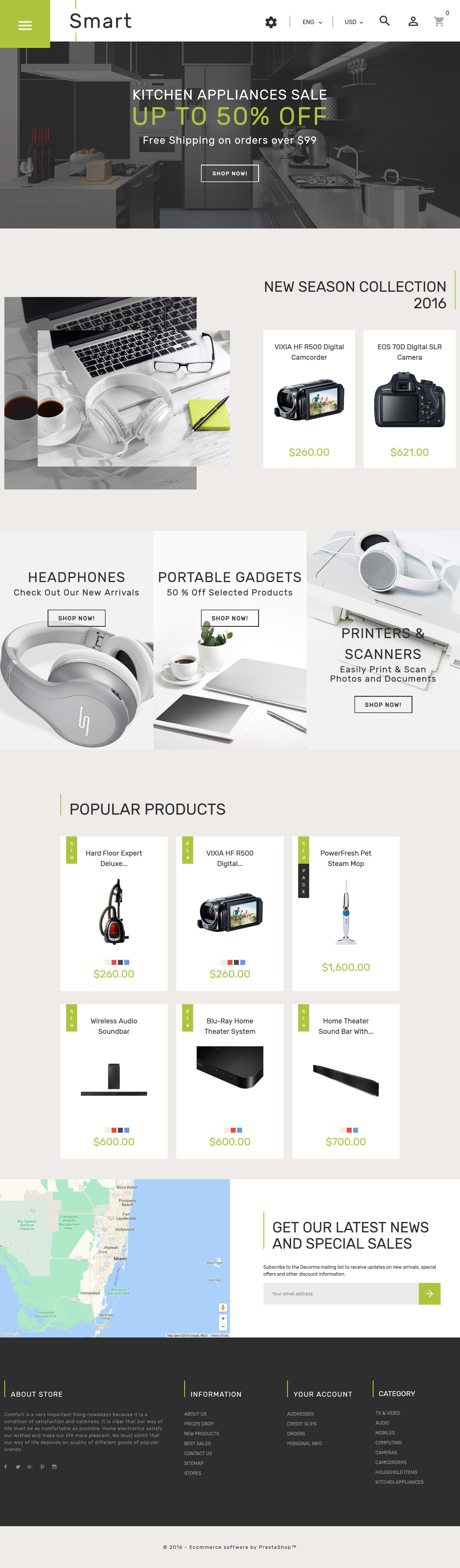 """Smart - Gadgets & Electronics"" 响应式PrestaShop模板 #61360 - 截图"