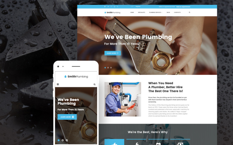 SmithPlumbing - Maintenance and Plumbing WordPress Theme New Screenshots BIG