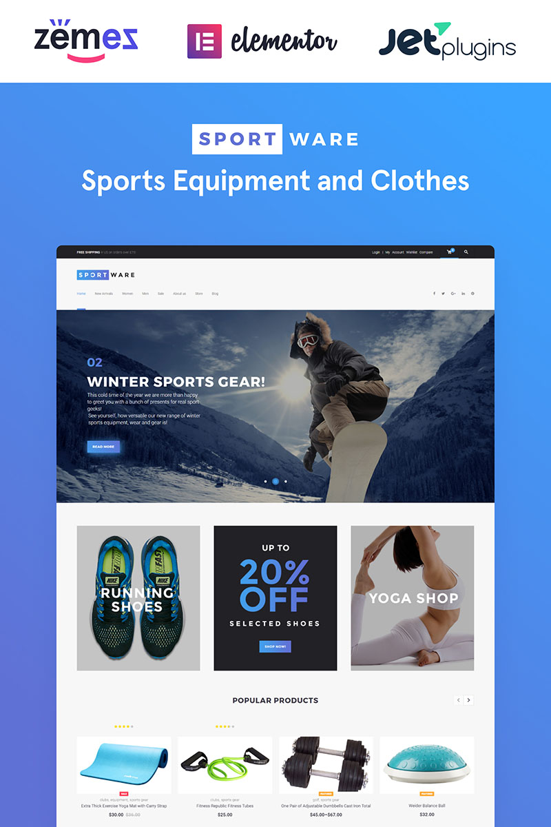 """""""SportWare - Vêtements/Équipement Sportif"""" thème WooCommerce adaptatif #61301 - screenshot"""