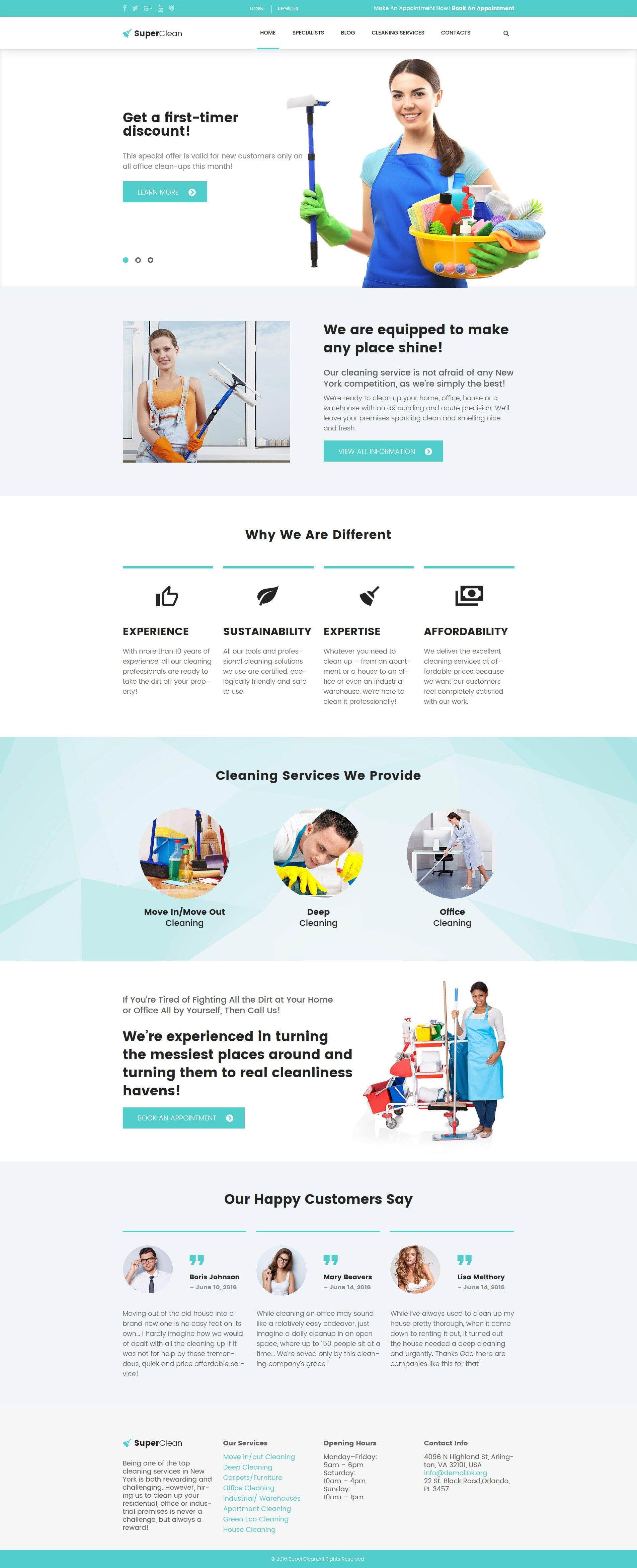 """SuperClean - Cleaning & Maintenance Service"" - адаптивний WordPress шаблон №61380"