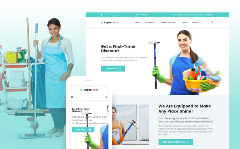 SuperClean - Cleaning & Maintenance Service WordPress Theme New Screenshots BIG