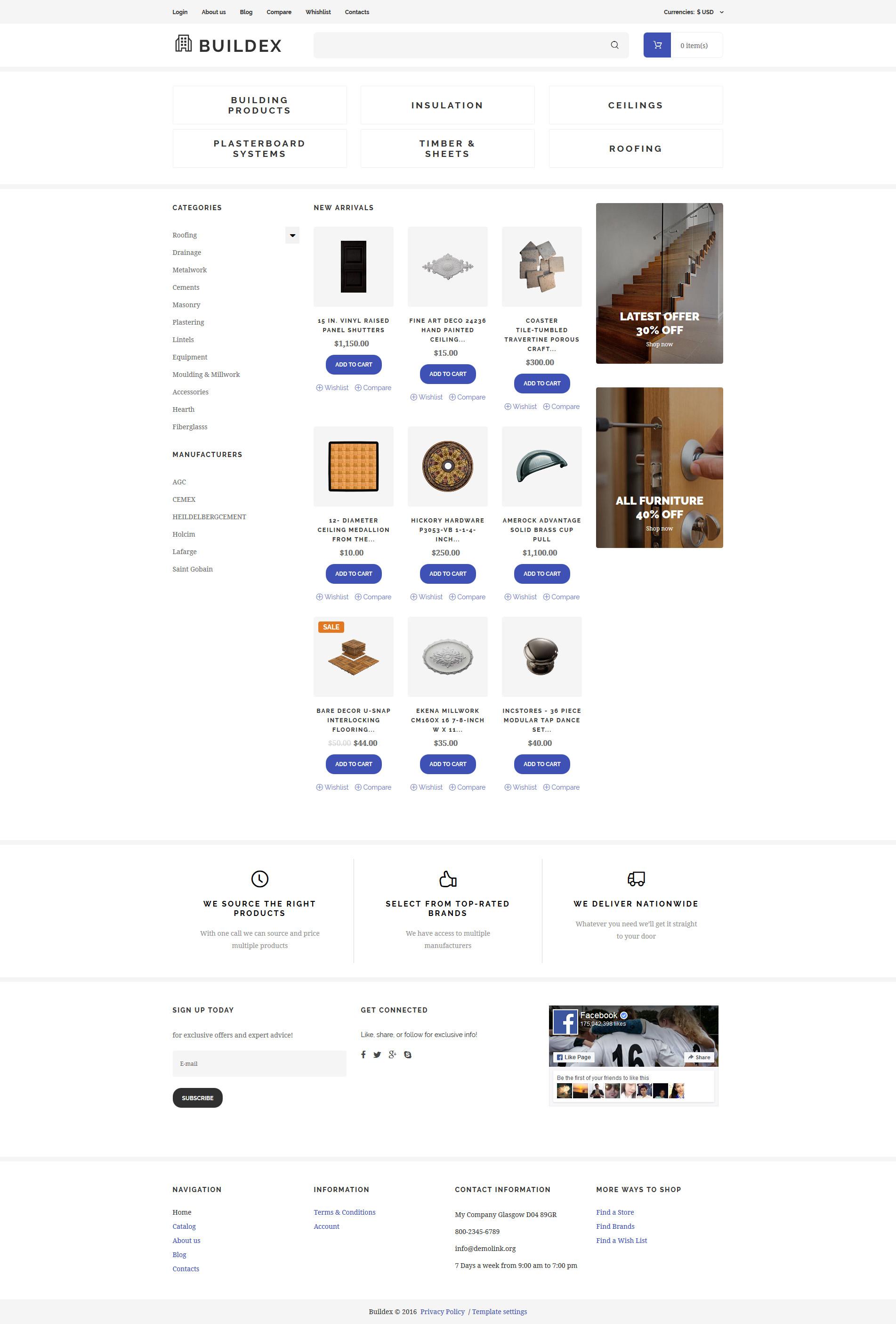 Szablon VirtueMart #61398 na temat: materiały budowlane