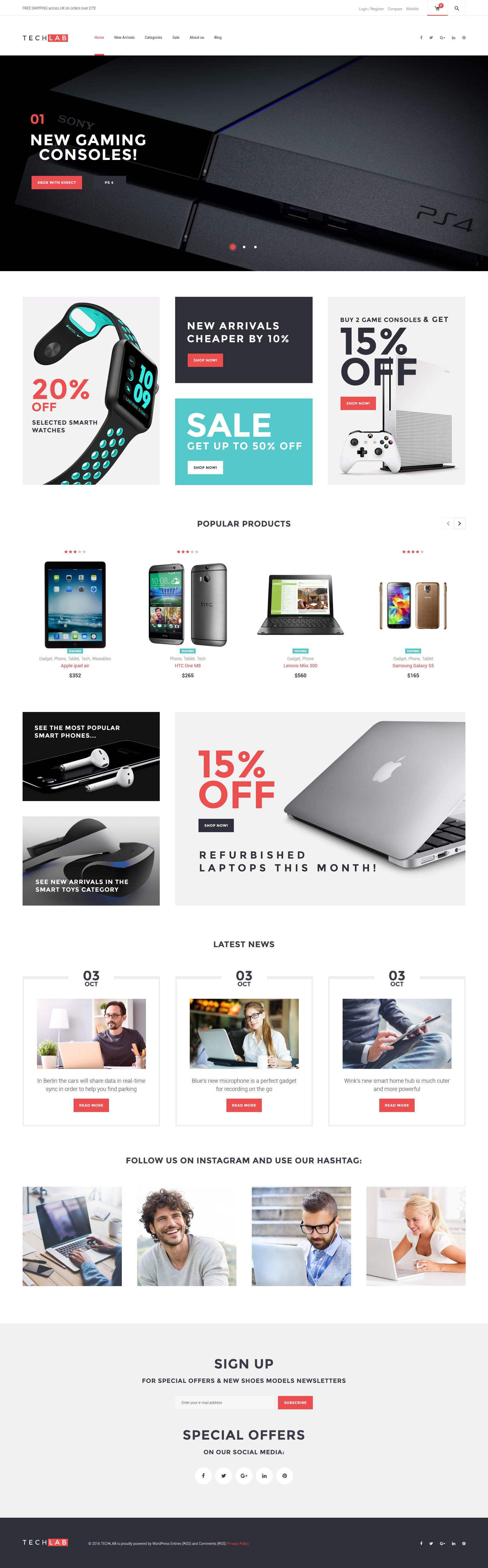 TechLab - Innovative Electronics Store WooCommerce Theme - screenshot