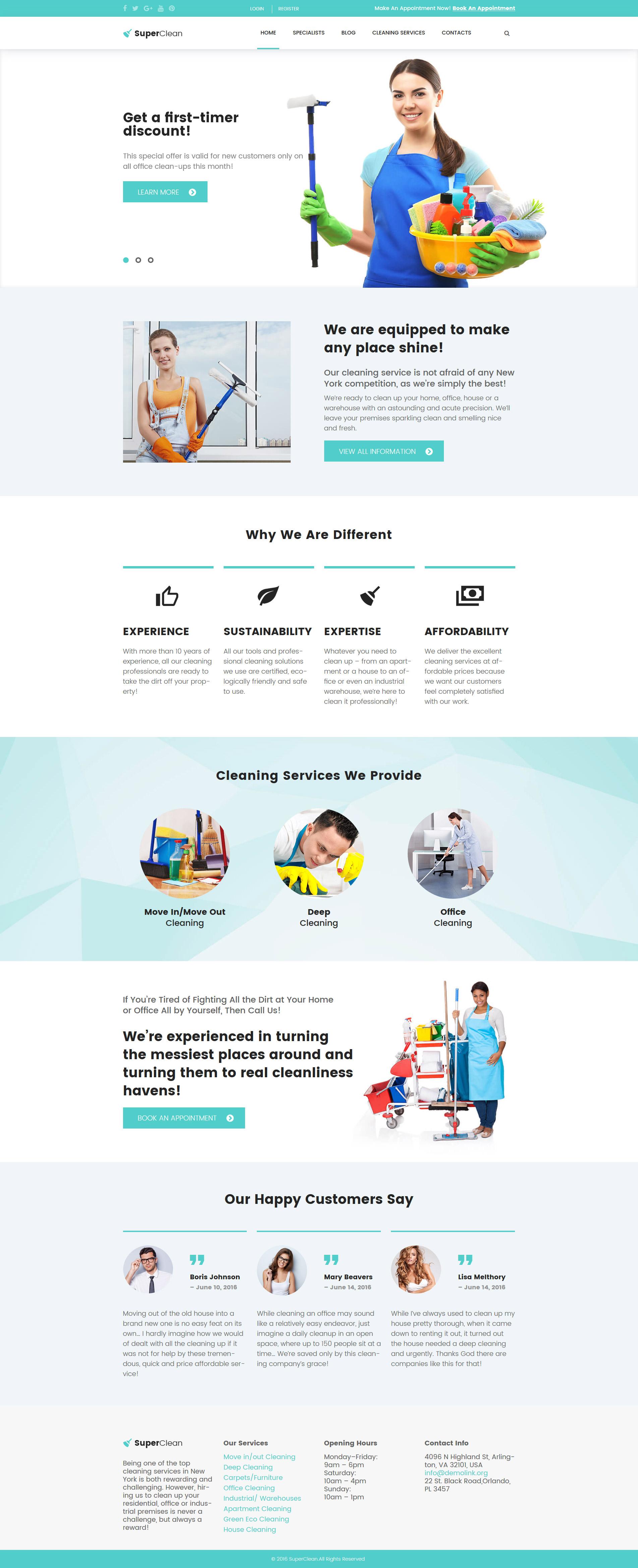 "Tema De WordPress ""SuperClean - Cleaning & Maintenance Service"" #61380"