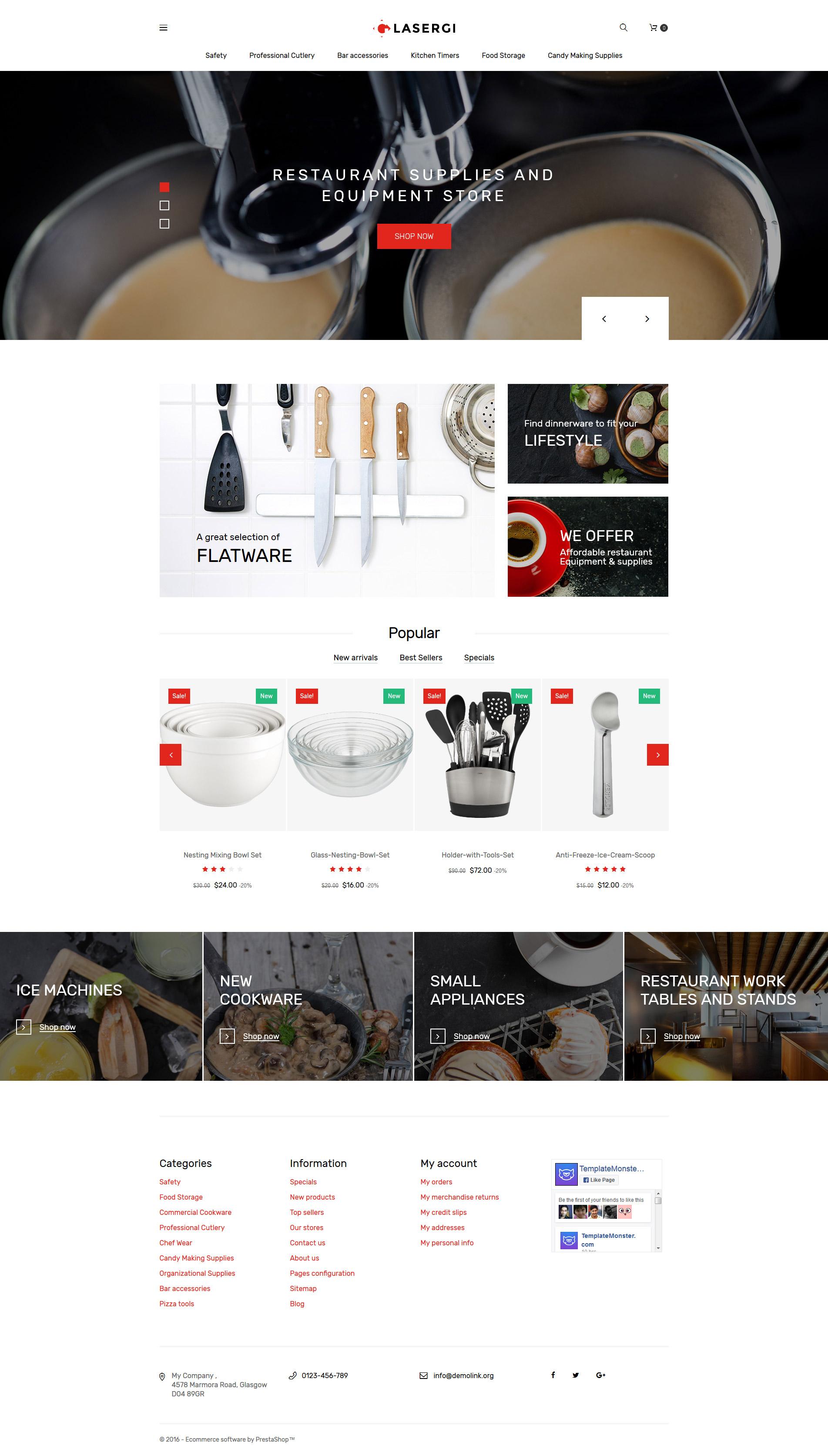 "Tema PrestaShop Responsive #61353 ""Glasergi – Negozio di utensili da cucina"""