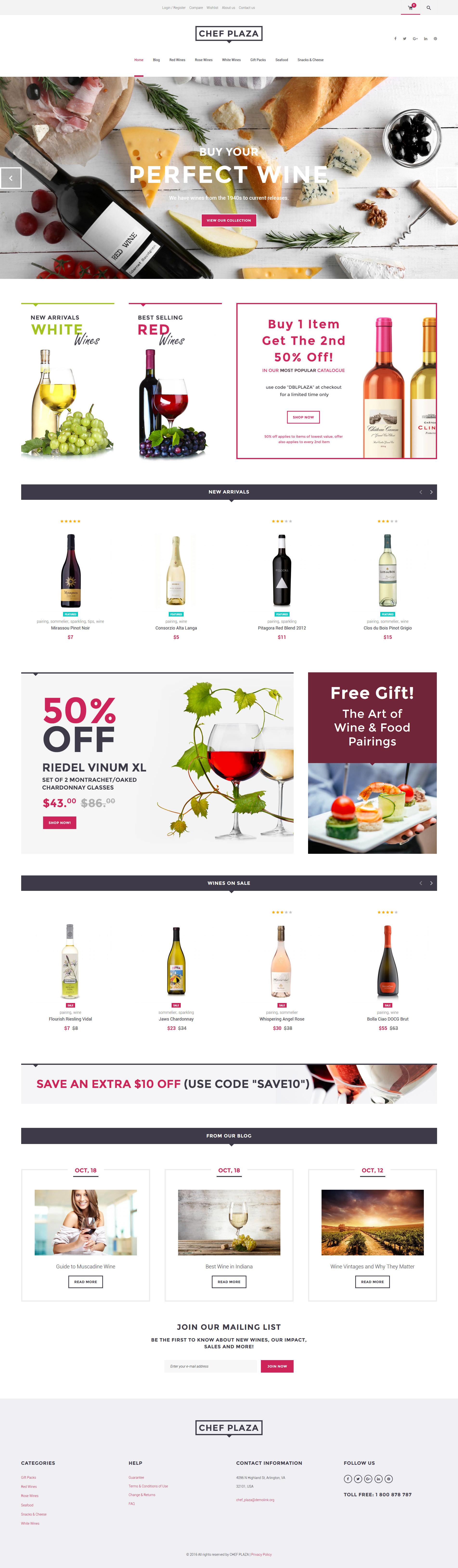 "Tema WooCommerce Responsive #61302 ""Chef Plaza Food And Wine Store"""