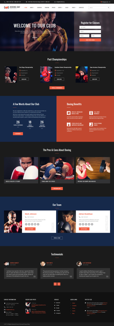 Template Web Flexível para Sites de Boxe №61393 #61393