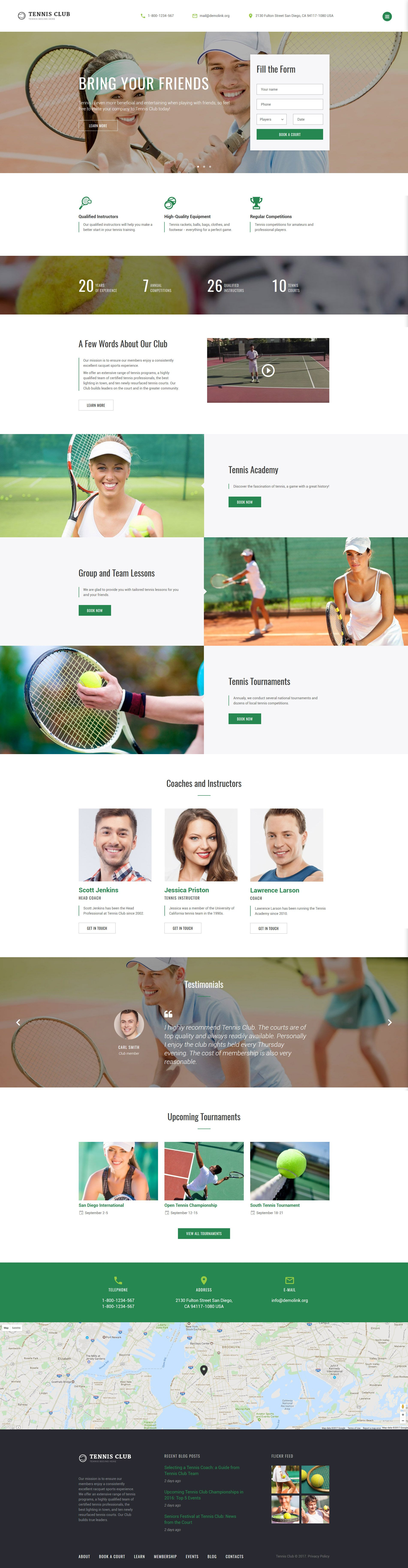 Tennis Club - Sports & Events Multipage Website Template