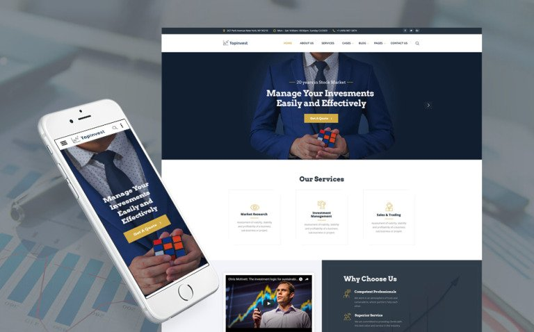 TopInvest - Investment Company Responsive Multipage Website Template New Screenshots BIG