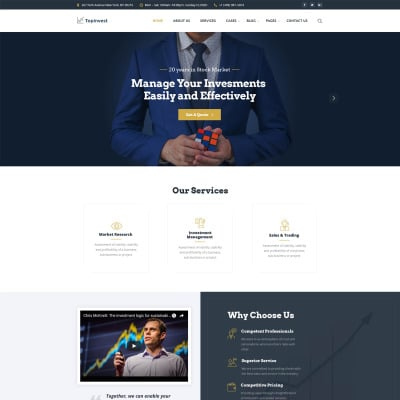 Investment company responsive website template 44194 discounted.