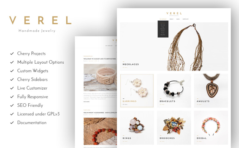 Verel - Handmade Jewelry WordPress Theme New Screenshots BIG