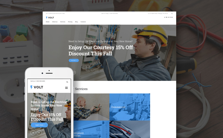 Volt - Local Electrical Service WordPress Theme New Screenshots BIG