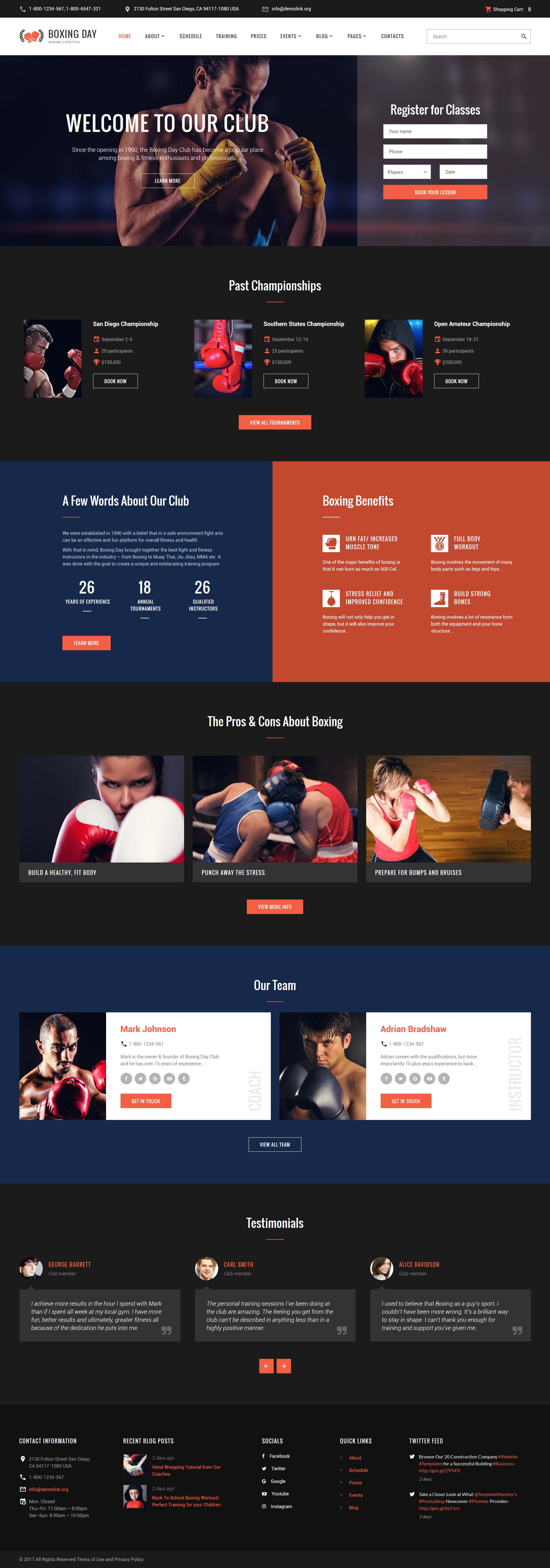 "Website Vorlage namens ""Boxing Day - Boxsport Lifestyle Club"" #61393 - Screenshot"