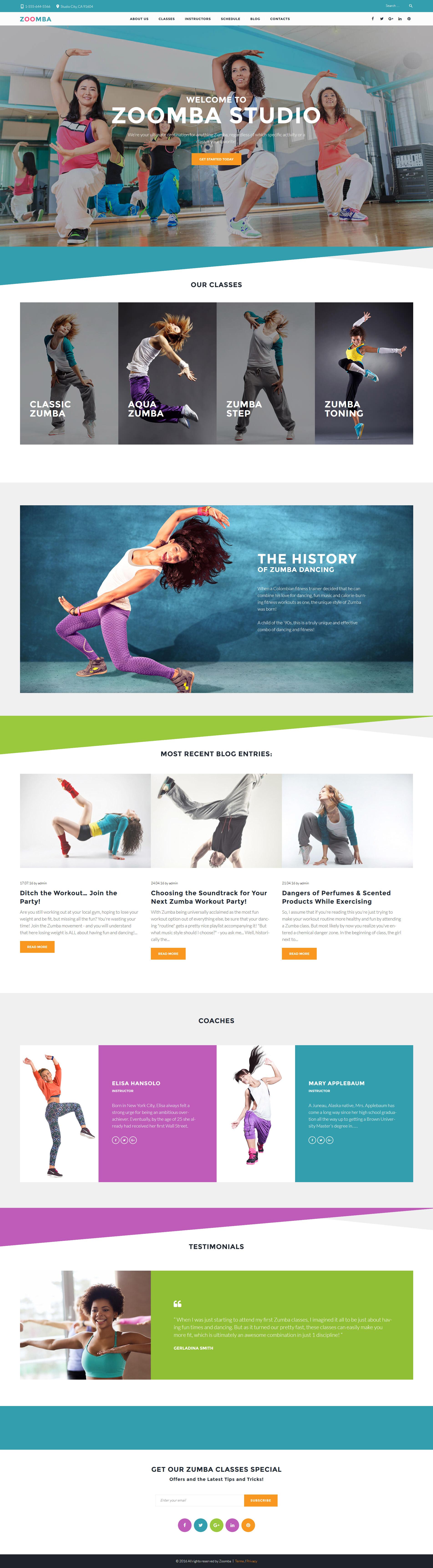 """Zoomba - Zoomba Dance Studio"" 响应式WordPress模板 #61364"