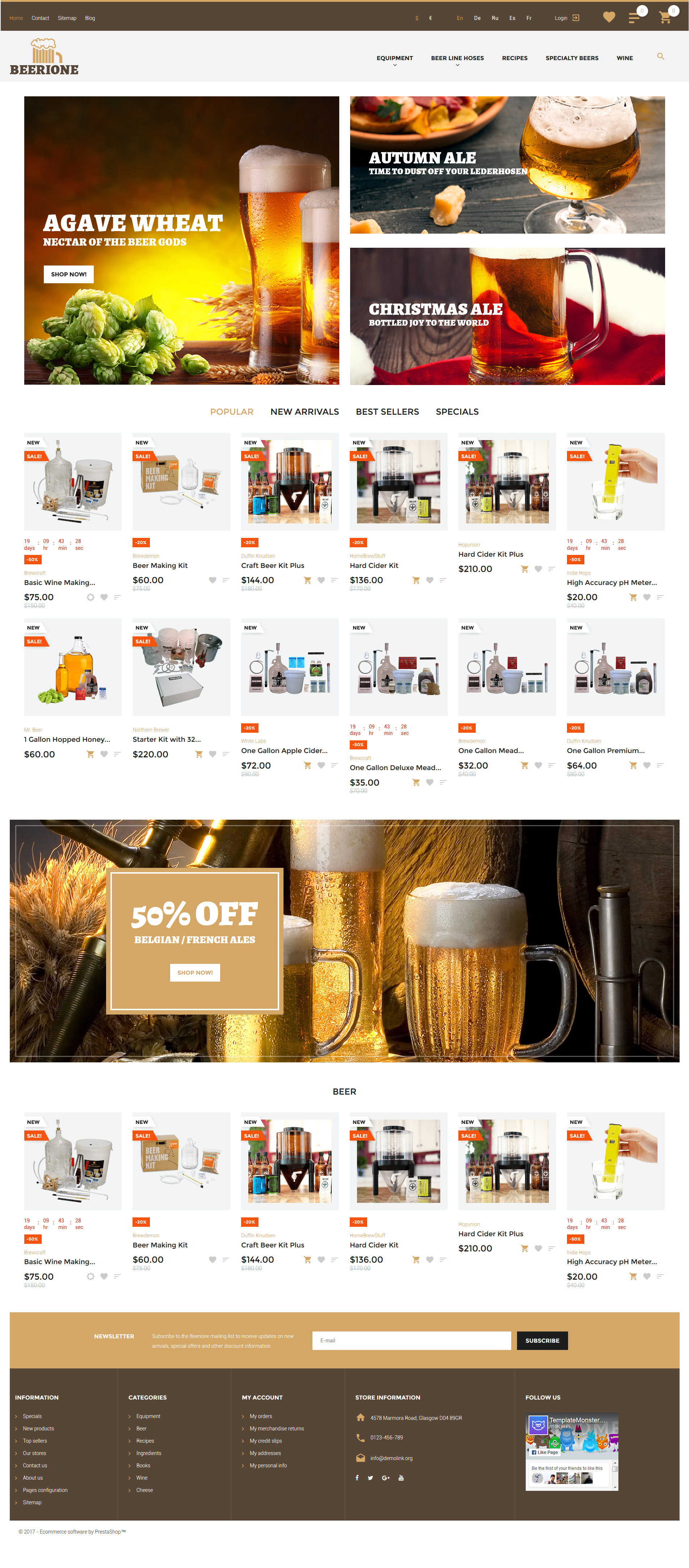 Beerione - Brewing Equipment Store PrestaShop Theme