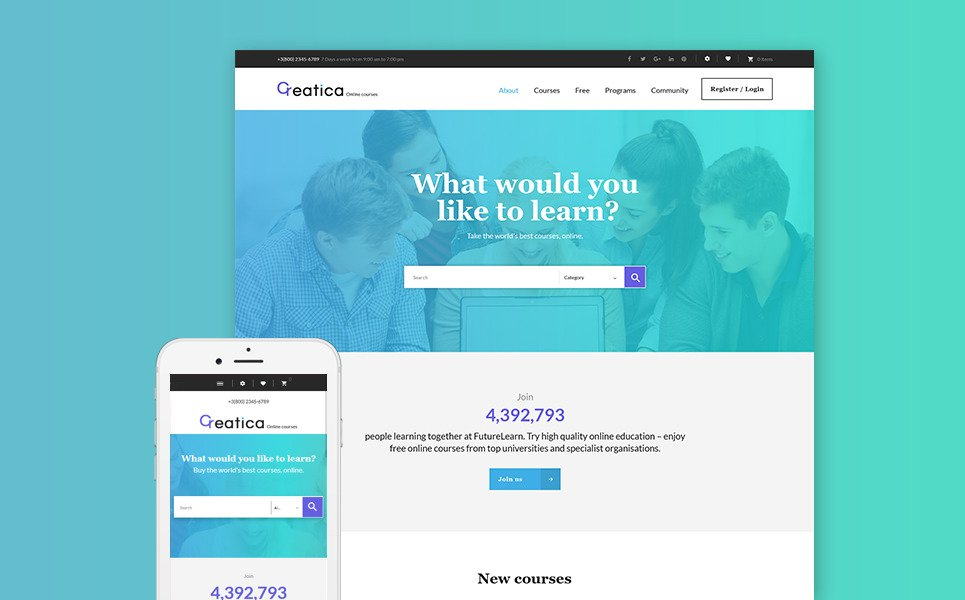Creatica - Prestashop шаблон на тему онлайн курсов