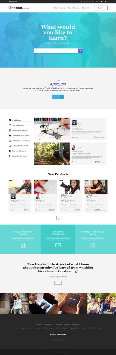 Creatica - Online Courses PrestaShop Theme #61407