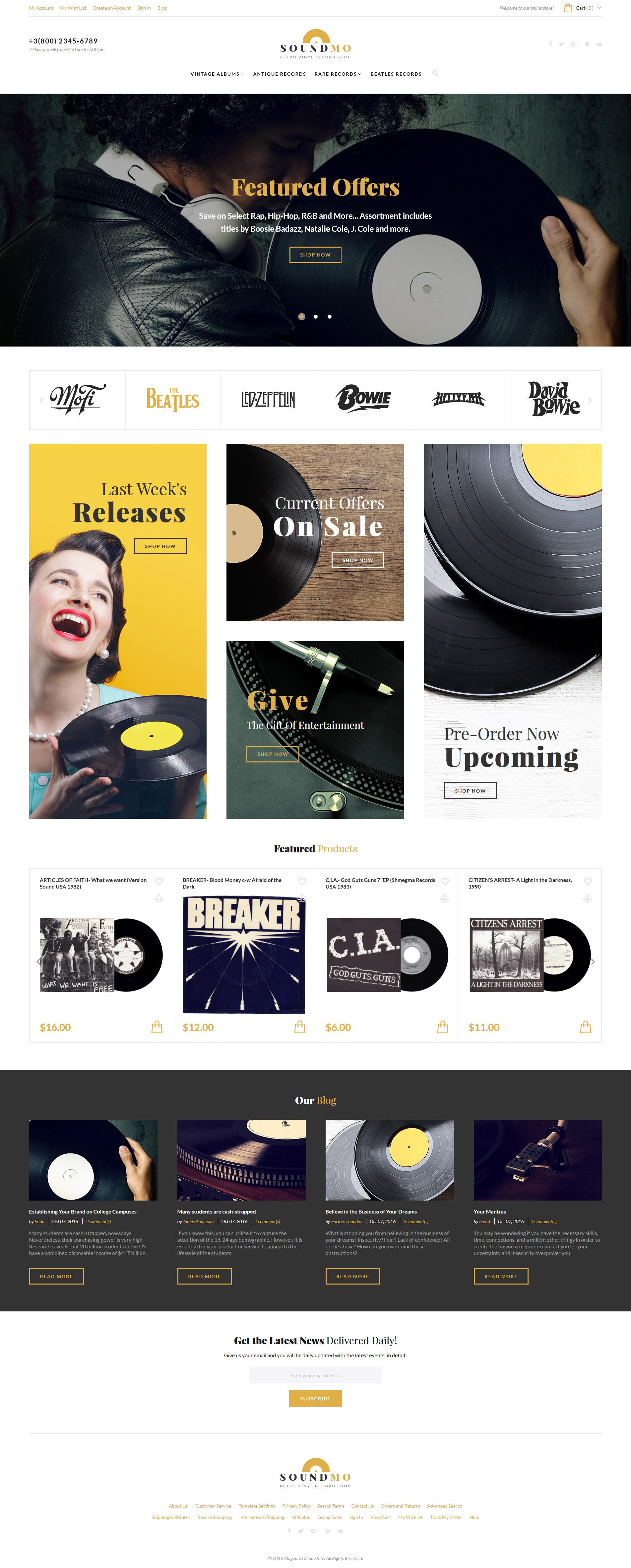 "Magento Theme namens ""SoundMo - Vinyl & Audio Products"" #61422"