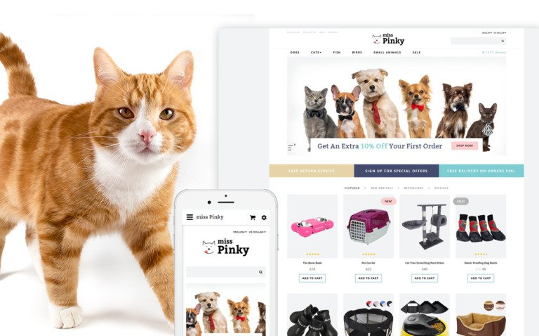 Miss Pinky - Animal & Pet OpenCart Template New Screenshots BIG