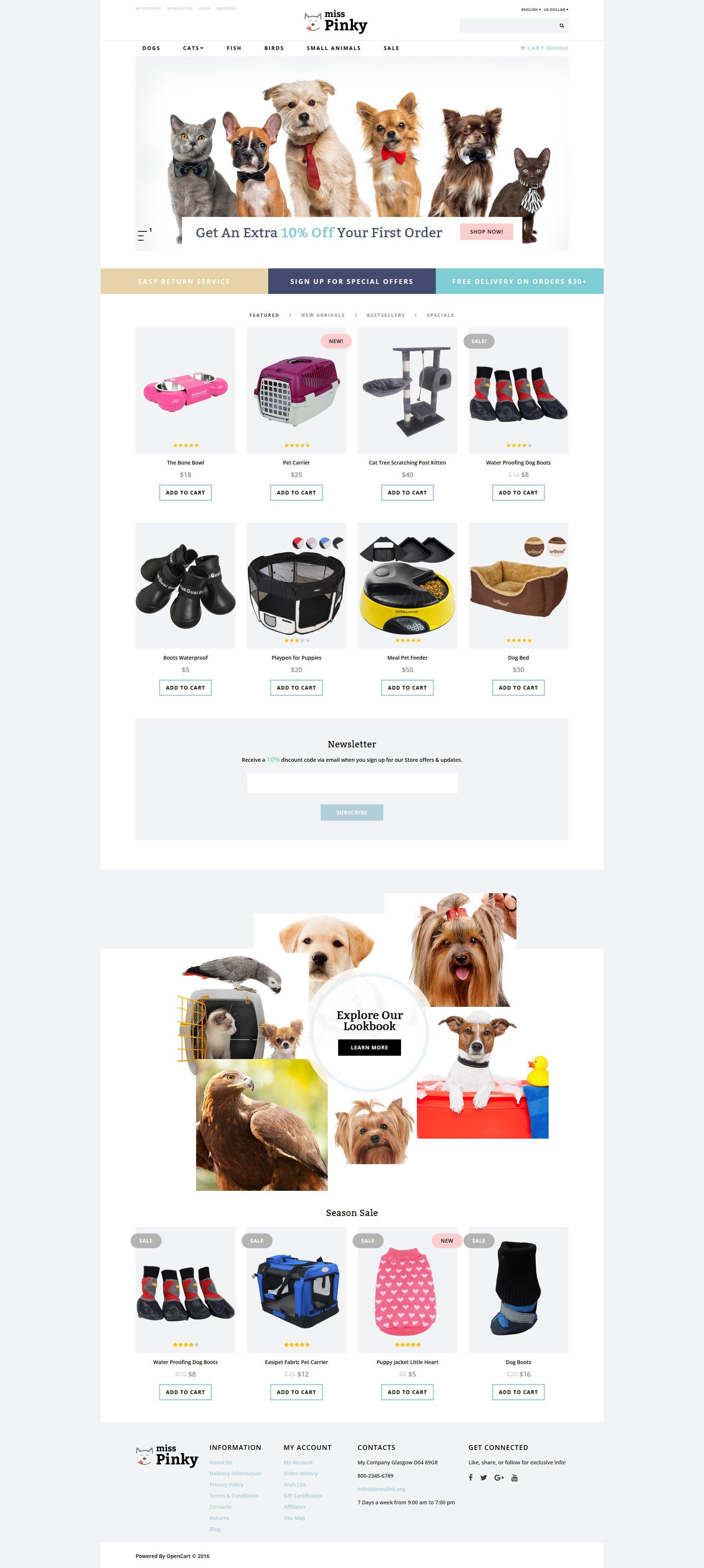 Miss Pinky - Animal & Pet Template OpenCart №61404