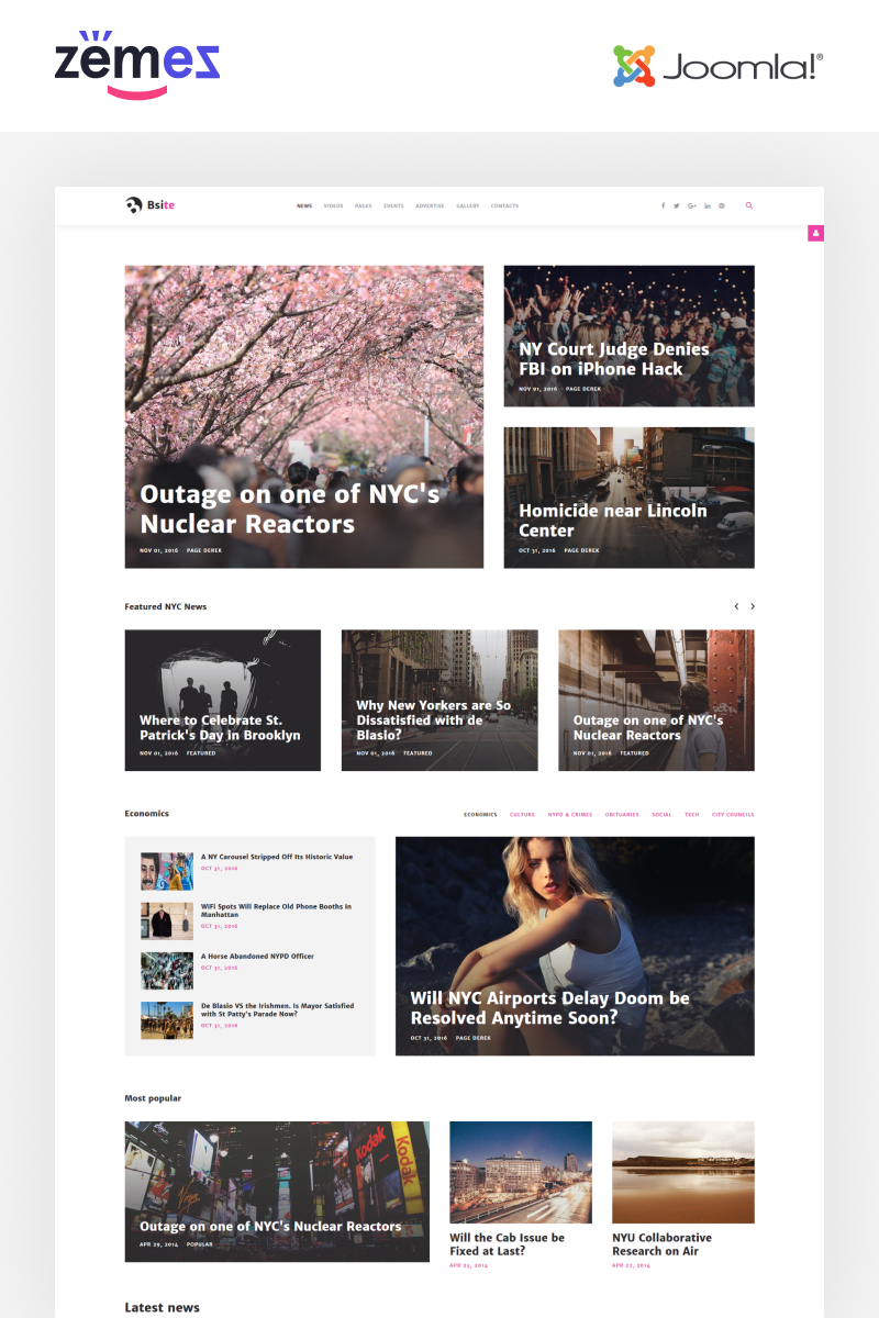 "Plantilla Joomla ""Bsite - News Portal Responsive Modern"" #61405"