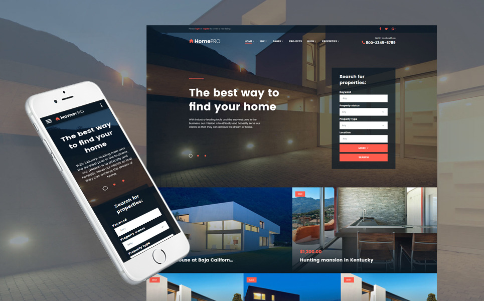 HTML шаблон для агенства по недвижимости