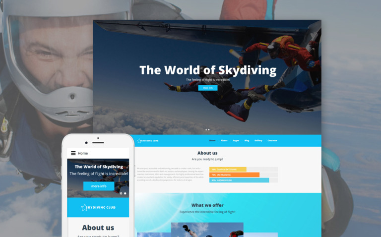 Skydiving Club - Extreme Sports & Skydiving Club Joomla Template New Screenshots BIG