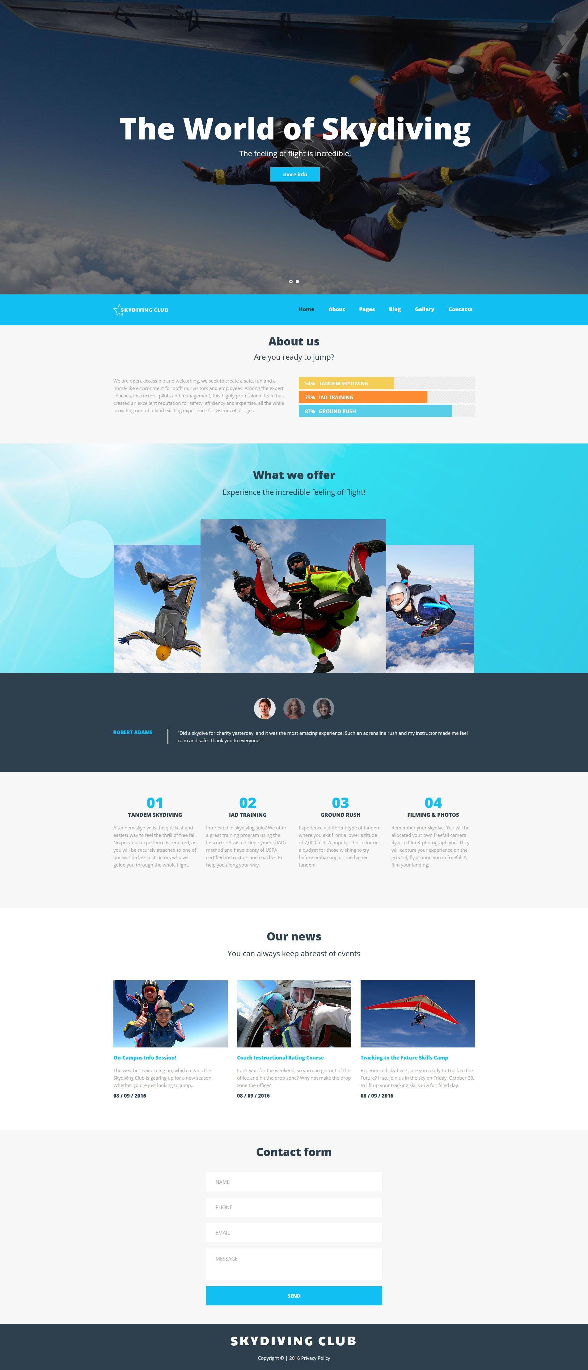 Skydiving Club - Extreme Sports & Skydiving Club Joomla Template - screenshot