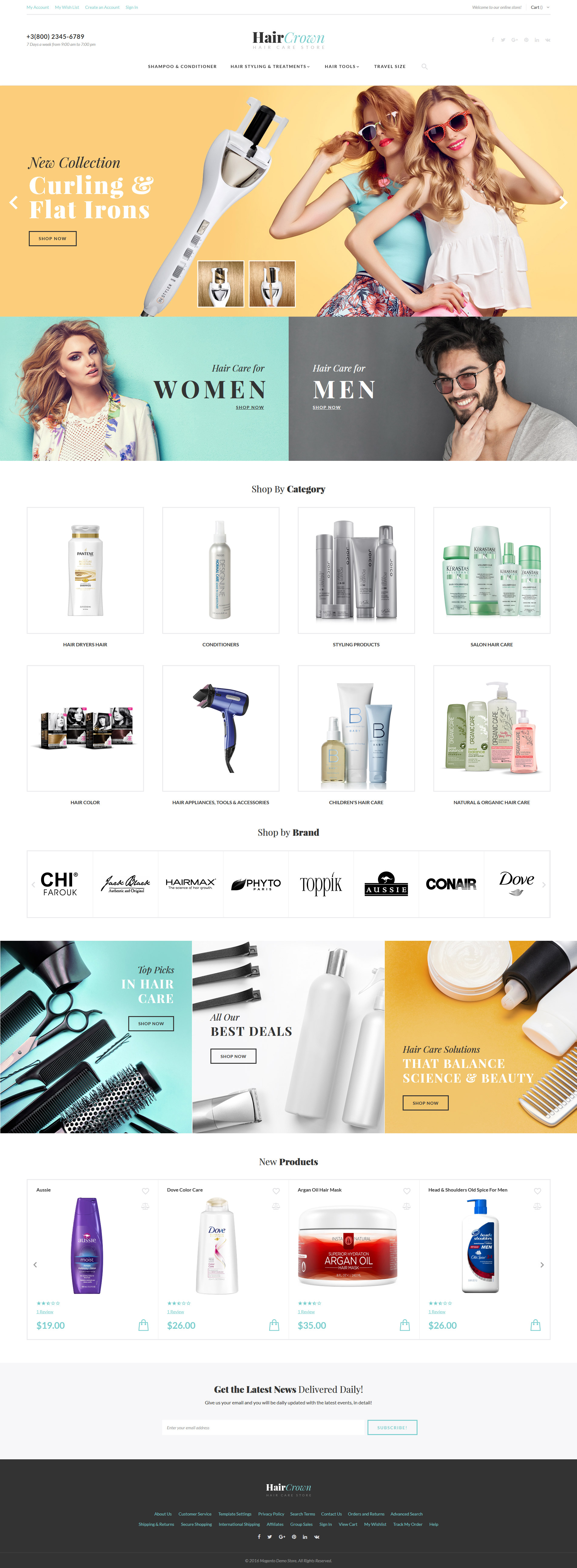 "Tema Magento ""HairCrown - Hair Salon Responsive"" #61418"