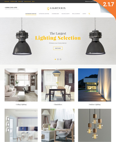Responsive Tema Magento #61420 para Sitio de  para Sitio de Iluminación y Electricidad