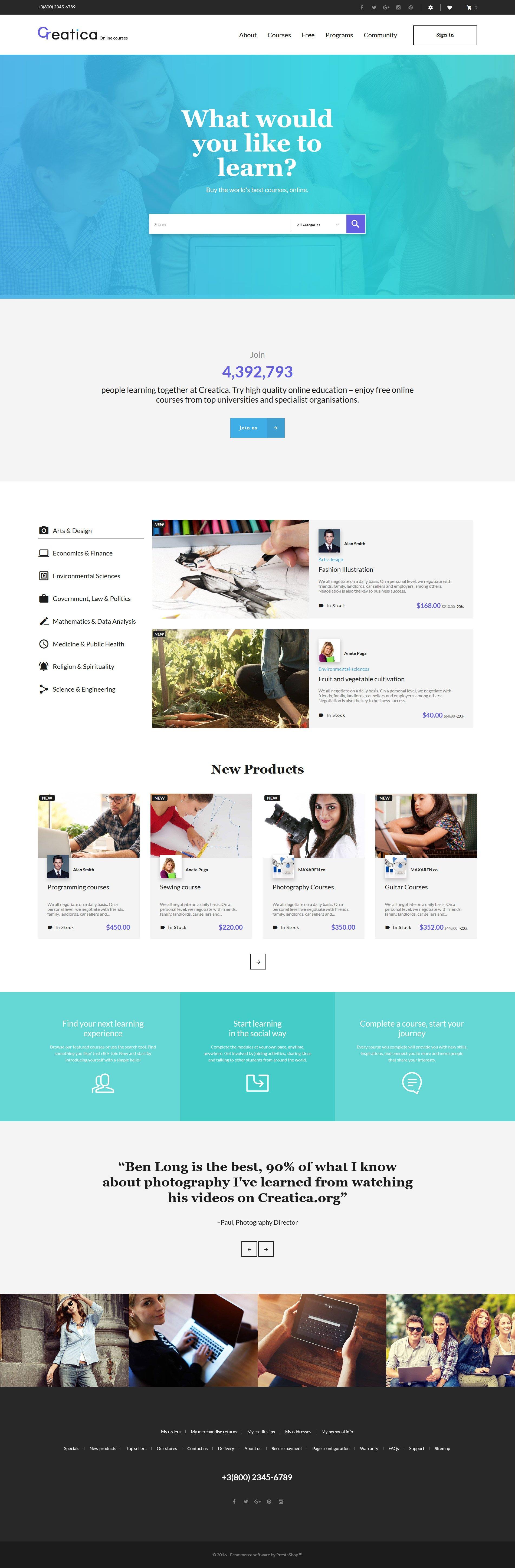 "Tema PrestaShop Responsive #61407 ""Creatica - Online Courses"""