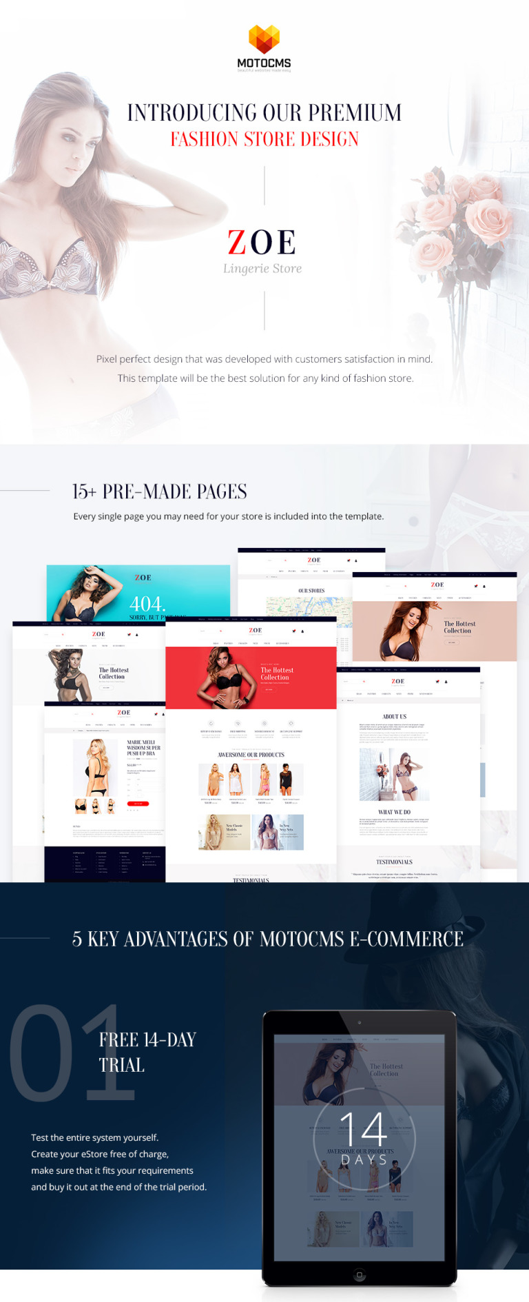 Zoe Fashion Responsive MotoCMS Ecommerce Template #61999
