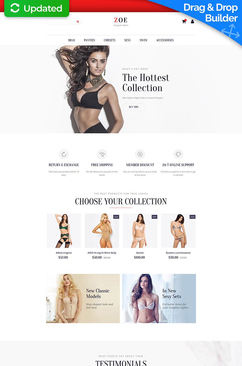 """MotoCMS E-Commerce Vorlage namens """"Zoe Fashion Responsive"""" #61999"""