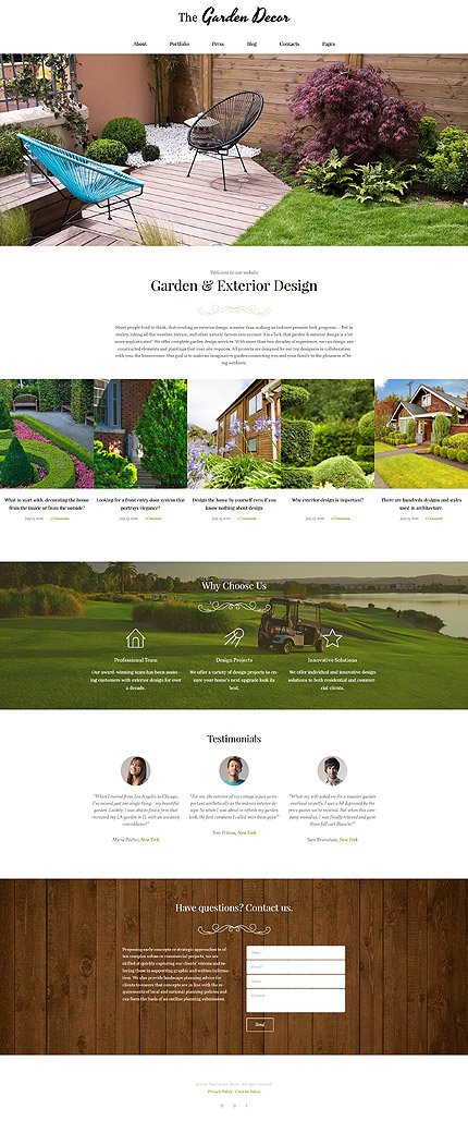 Website Template:  the garden decot agriculture company business