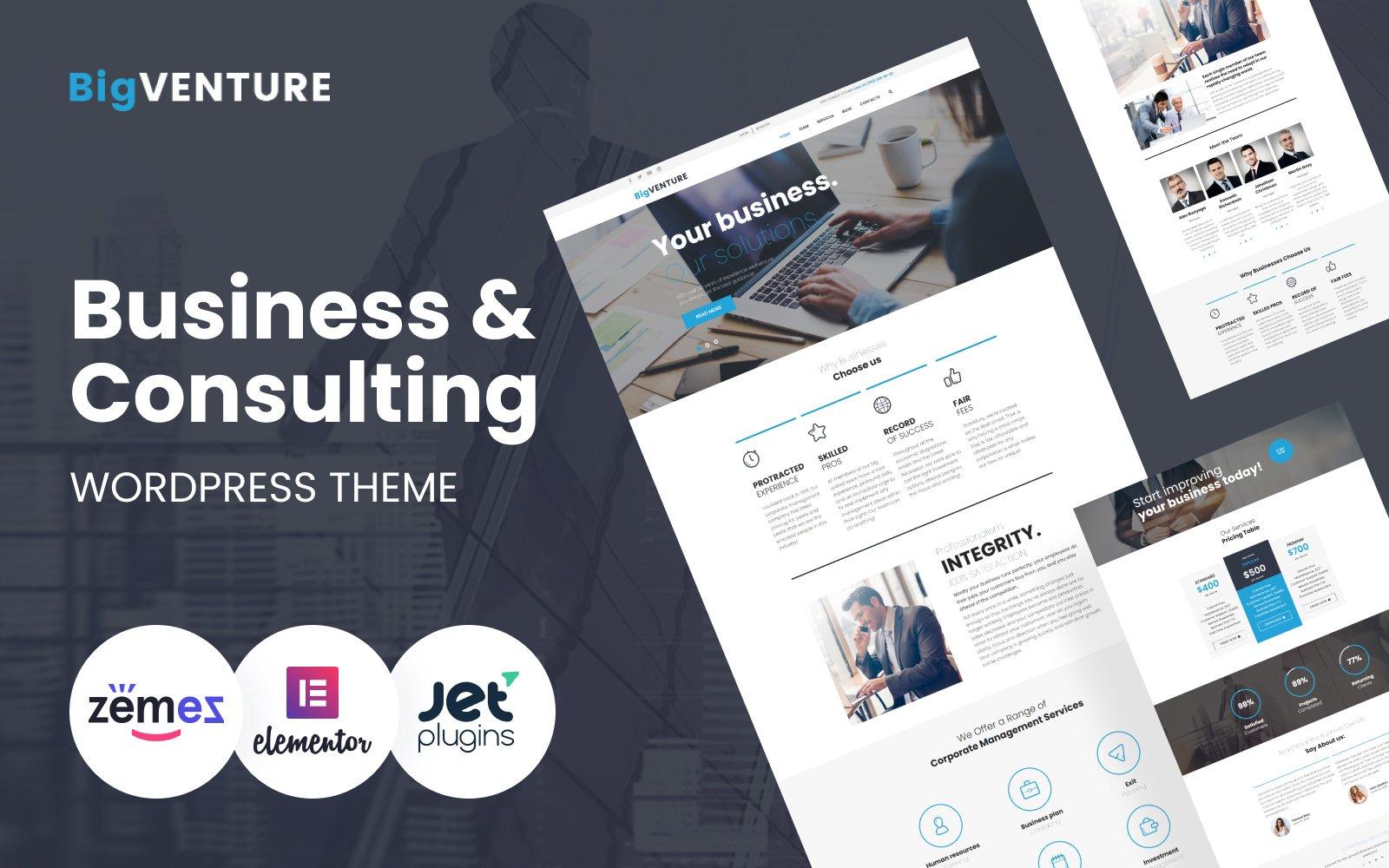 BigVenture - Business & Consulting WordPress Elementor Theme WordPress Theme