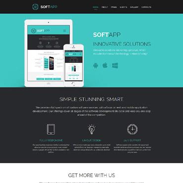 Купить Шаблон для создания сайта о мобильном приложении - Soft app. Купить шаблон #62069 и создать сайт.