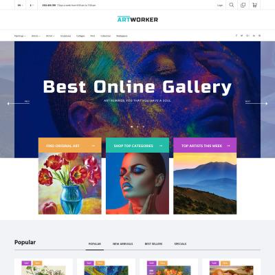 Artworker - Online Gallery & Artist Portfolio PrestaShop Theme #62011