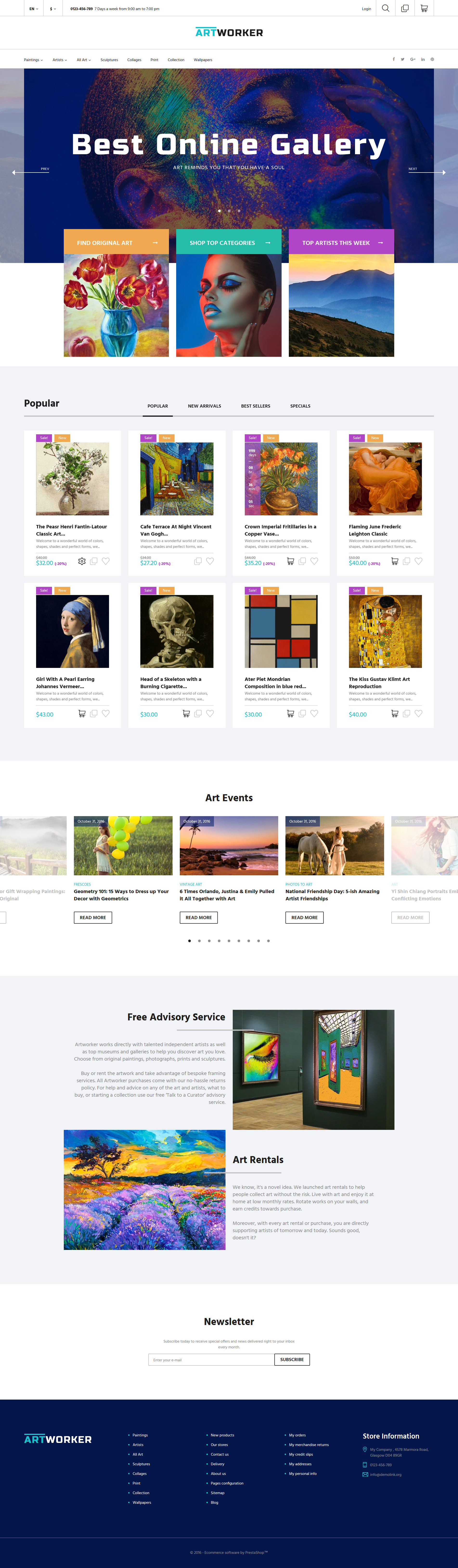 Artworker - Online Gallery & Artist Portfolio Tema PrestaShop №62011