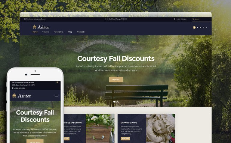 Ashton - Funeral & Cemetery Services WordPress Theme New Screenshots BIG