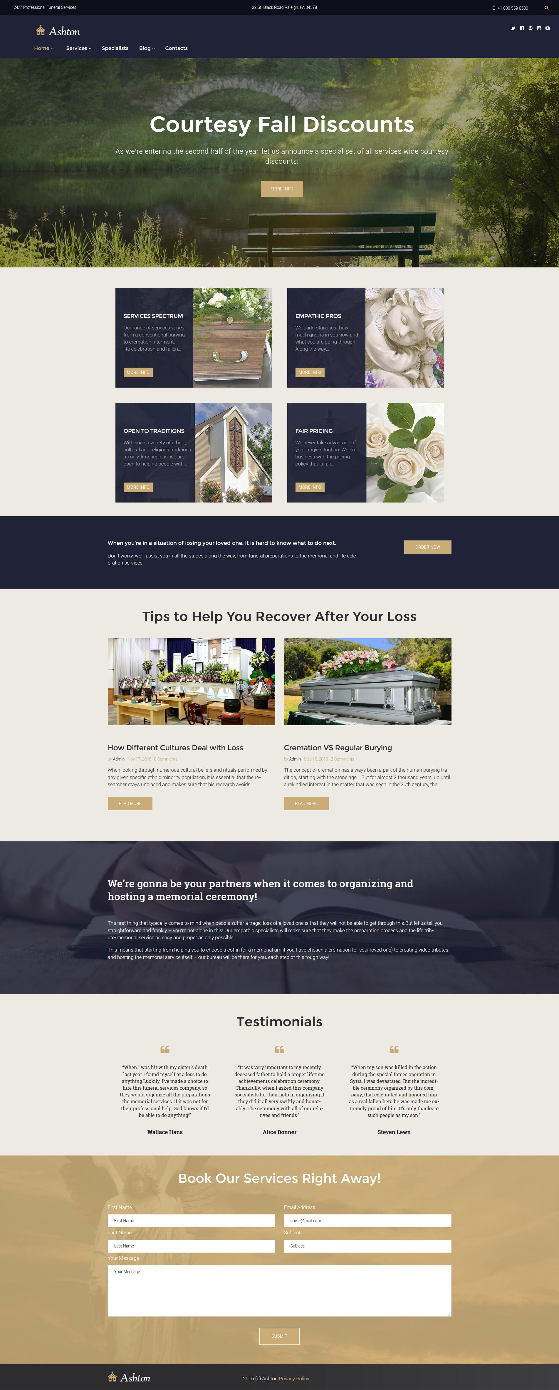Ashton - Funeral & Cemetery Services WordPress Theme - screenshot