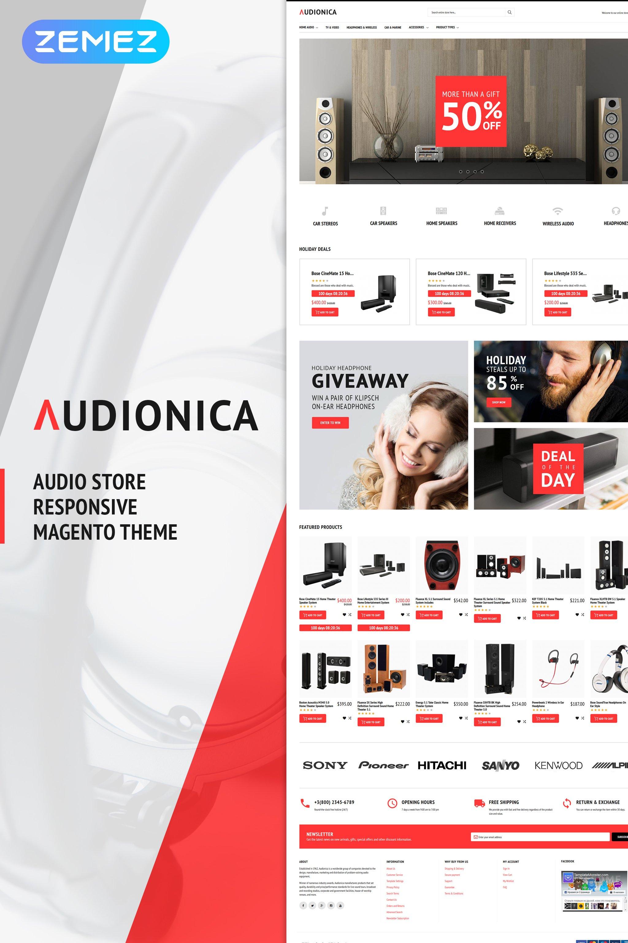 """Audionica - Audio Shop"" - адаптивний Magento шаблон №62092"
