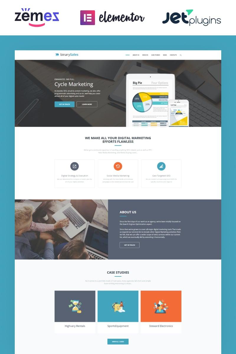 """BinarySales - SEO & Digital Marketing"" Responsive WordPress thema №62041"