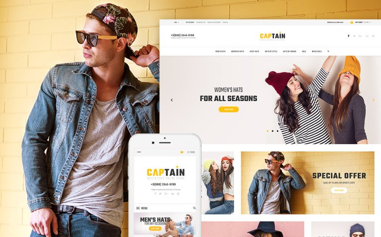 Captain - Hats and Caps Online Store Magento Theme New Screenshots BIG