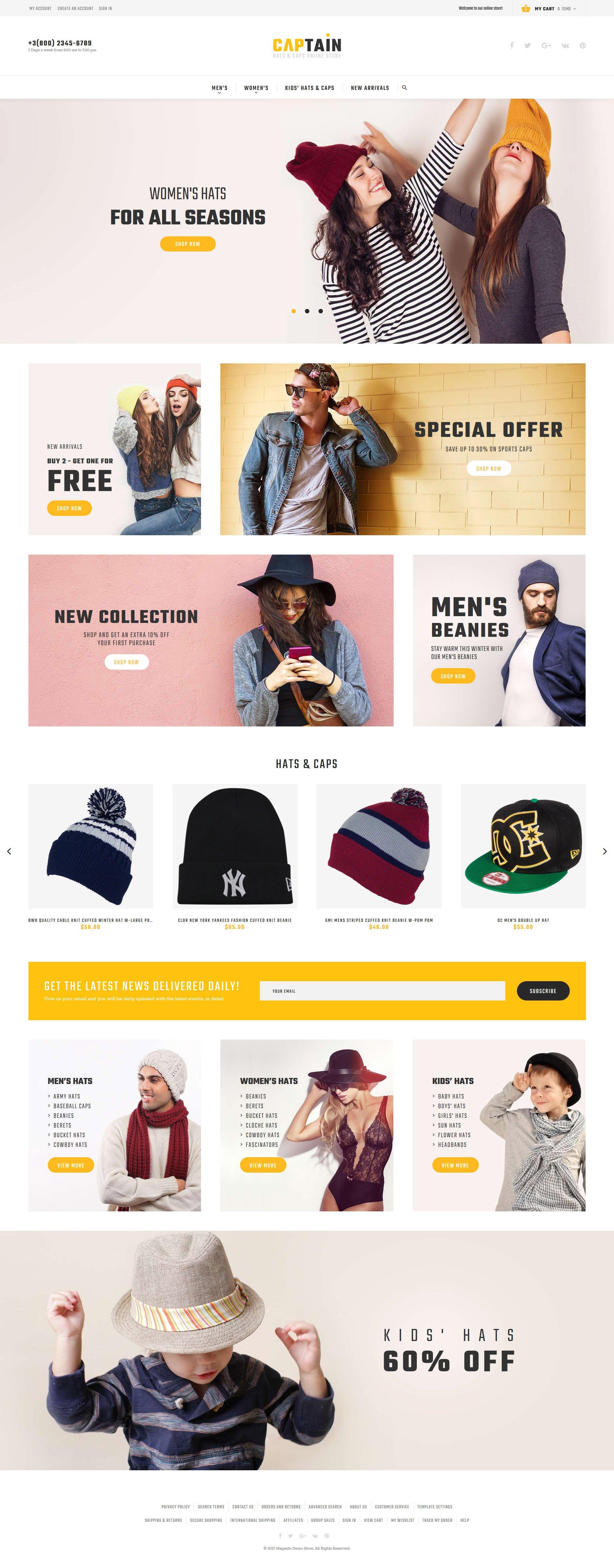 """""""Captain - Hats and Caps Online Store"""" thème Magento adaptatif #62084 - screenshot"""