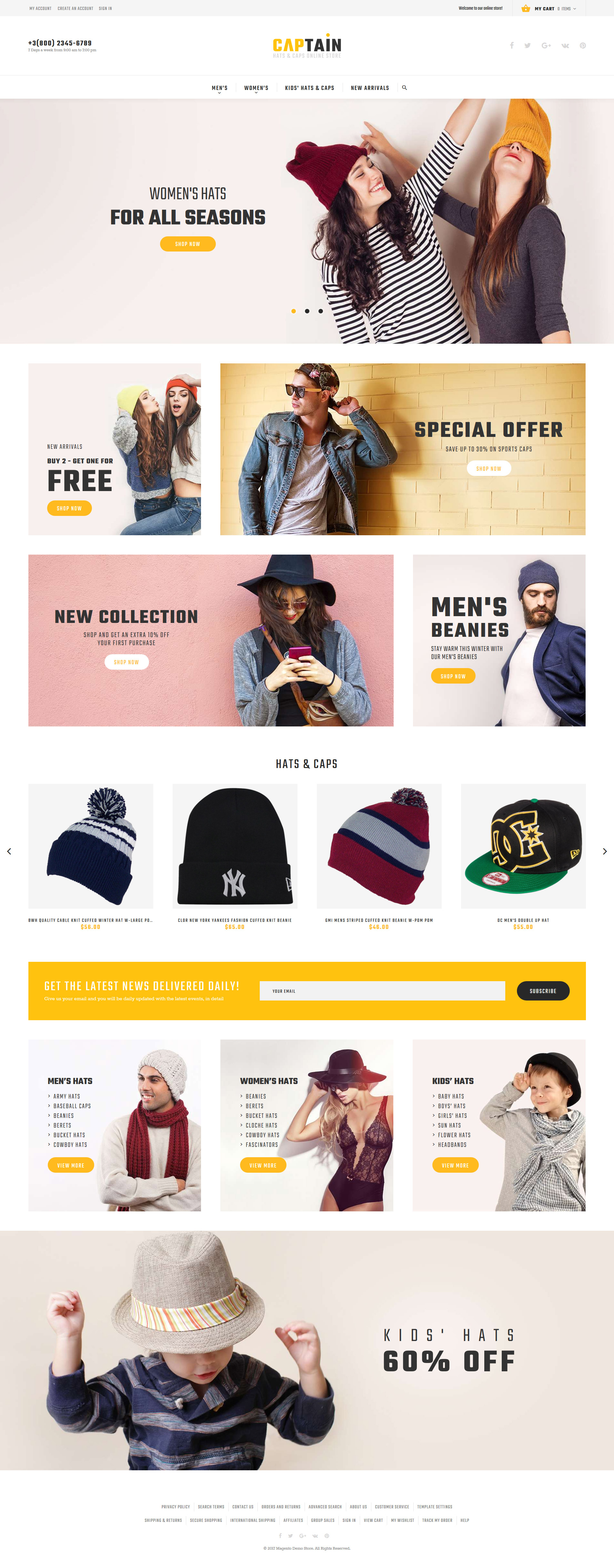 """Captain - Hats and Caps Online Store"" 响应式Magento模板 #62084 - 截图"