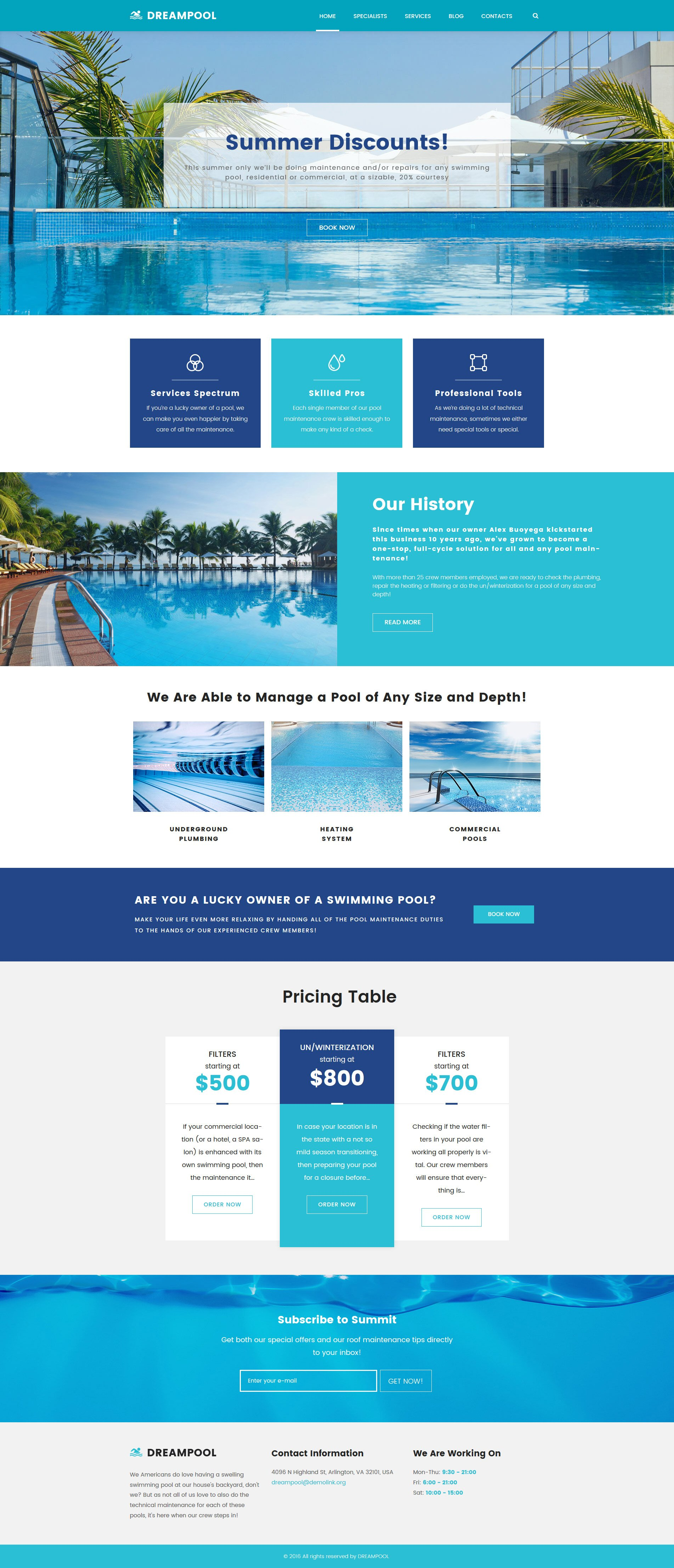 """""""Dream Pool - Pool Cleaning & Pool Repair"""" Responsive WordPress thema №62026 - screenshot"""